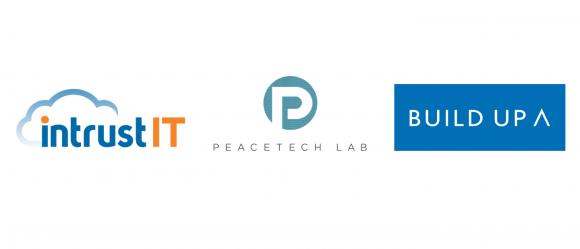 Logos of Intrust IT, PeaceTech Lab, Build Up