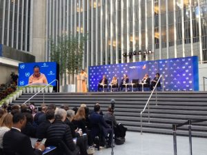 Outgoing President Catherine Samba-Panza speaks at the World Bank Forum on Fragility, Conflict and Violence