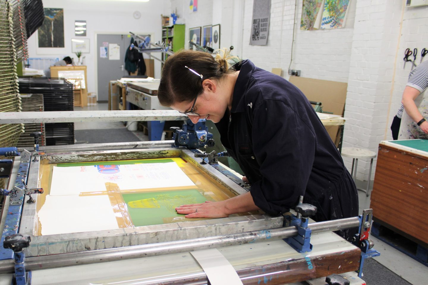 (Kaylene at work in Sonsole Print Studios, South London)
